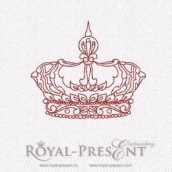 Дизайн машинной вышивки бесплатно в стиле REDWORK - Корона