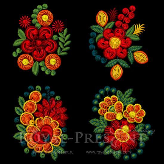 Коллекция дизайнов для машинной вышивки Четыре садовых букета