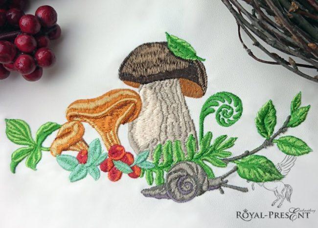 Дизайн машинной вышивки Лесные грибочки