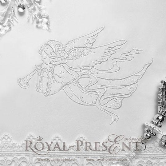 Дизайн машинной вышивки Играющий Рождественский Ангел