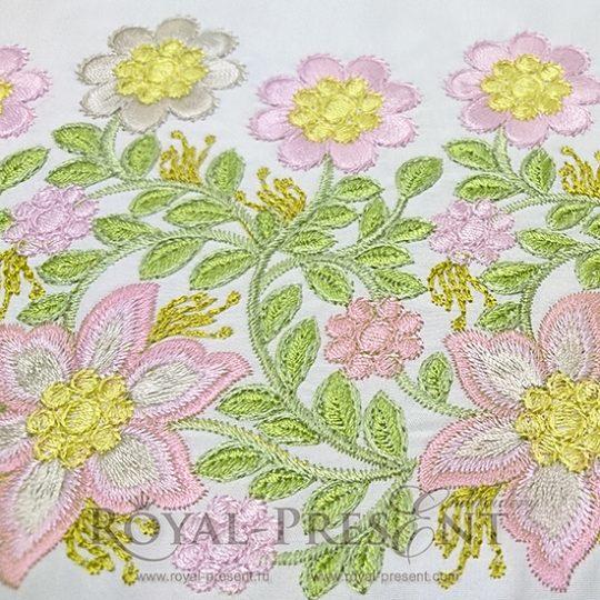 Дизайн машинной вышивки Бордюр с розовыми цветами