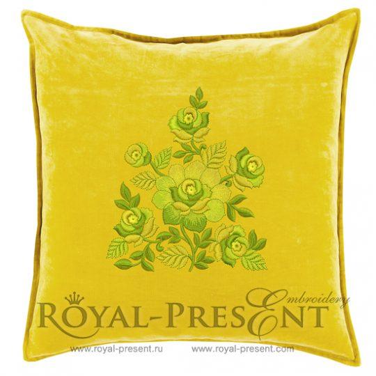 Дизайн для машинной вышивки Желто-зеленый Садовый букет