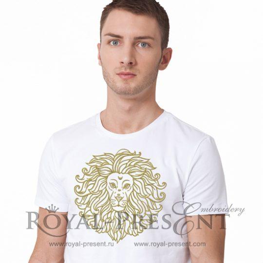 Дизайн машинной вышивки Золотой Лев