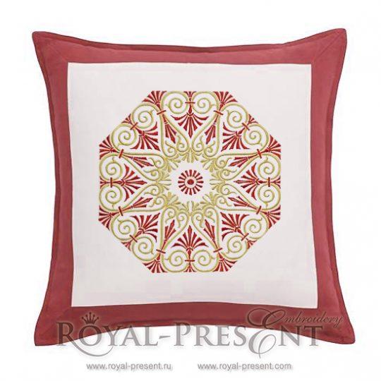Дизайн для машинной вышивки Орнамент с красным - 2 размера