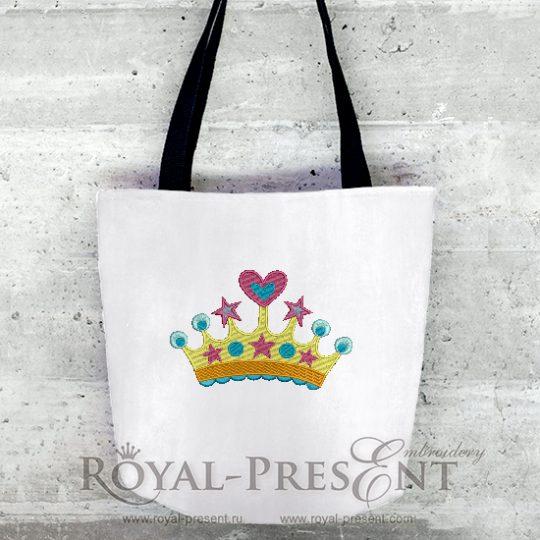 Дизайн машинной вышивки Корона принцессы