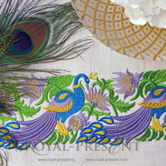 Дизайн машинной вышивки - Элемент для бордюра с павлинами