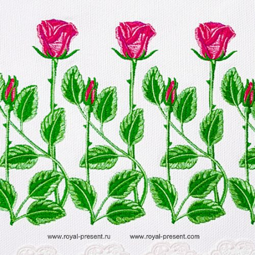 Дизайн для машинной вышивки Розы бордюр
