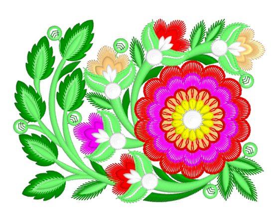 Дизайн машинной вышивки Растительный бордюр с большим цветком