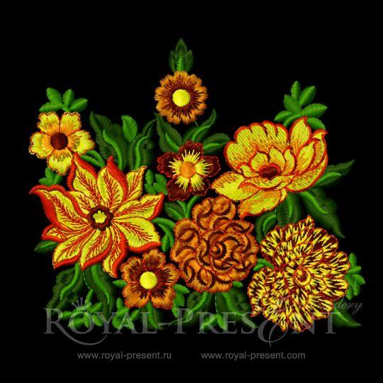 Дизайн для машинной вышивки Бордюр Буйство красок
