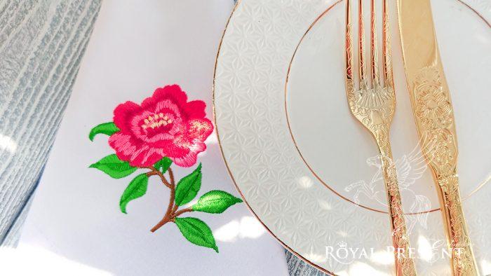 Дизайн машинной вышивки Чайная роза
