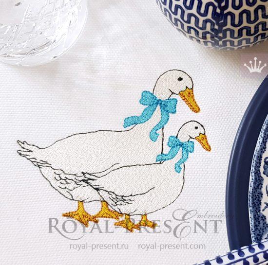 Дизайн для машинной вышивки Чешские гуси