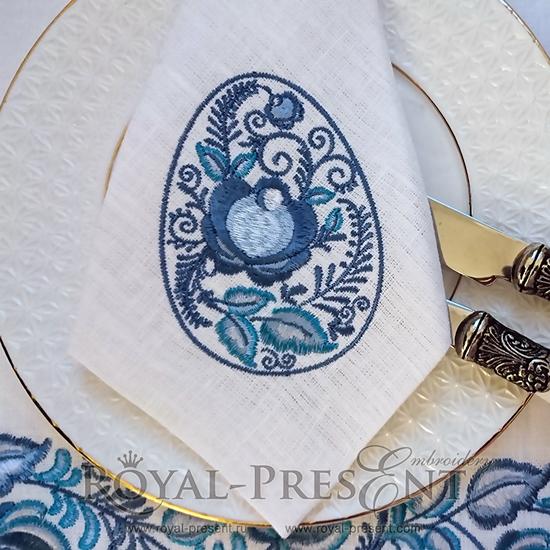 Дизайн машинной вышивки Пасхальное яйцо Синяя Гжель