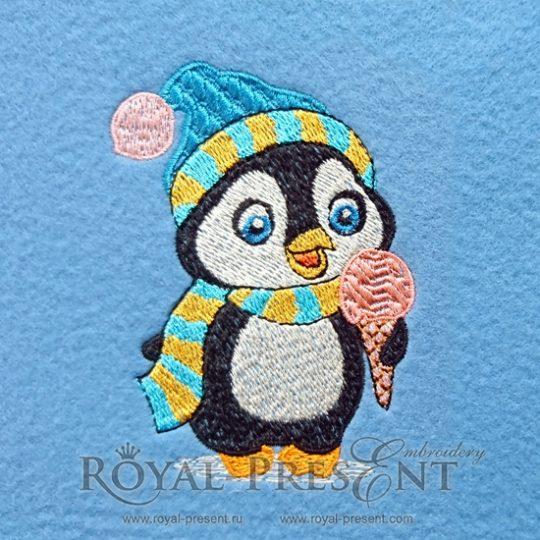 Дизайн для машинной вышивки Новогодний пингвин с мороженым