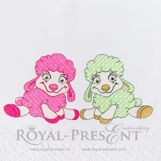 Дизайн для машинной вышивки Две маленькие овечки