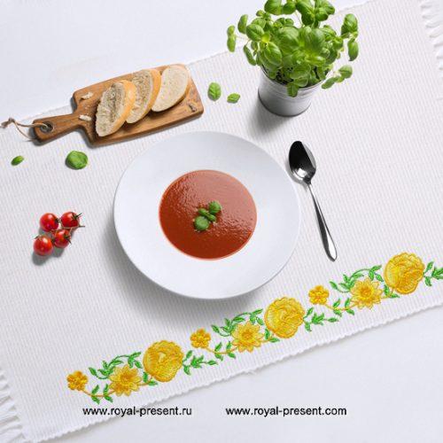 Дизайн машинной вышивки Элемент растительного бордюра с розами