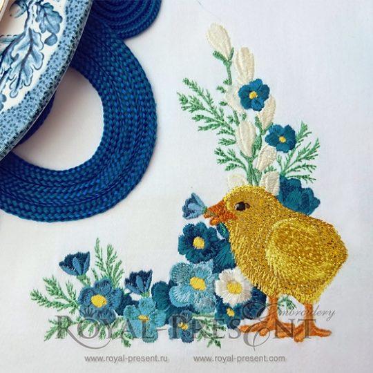 Угловой дизайн машинной вышивки Пасхальный цыпленок - 2 размера