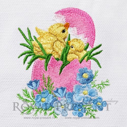 Дизайн машинной вышивки Пасхальные цыплята