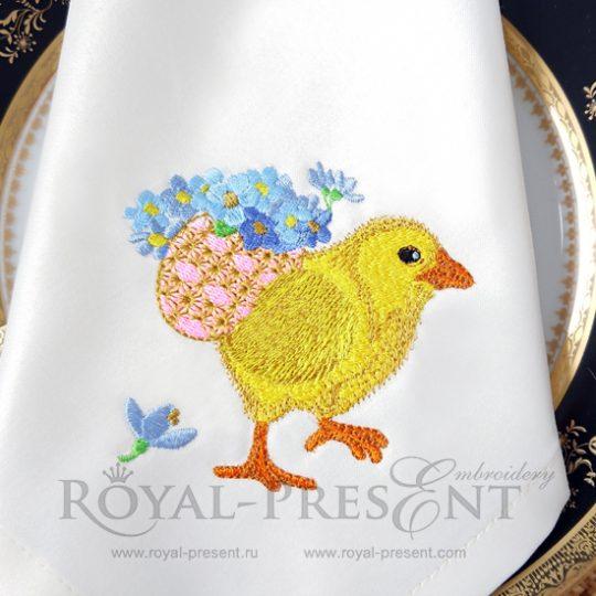 Дизайн машинной вышивки Пасхальный цыпленок несет яйцо с незабудками