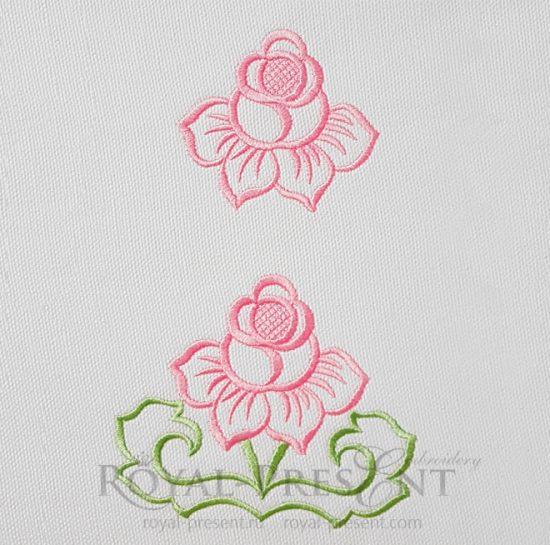 Набор кружевных дизайнов машинной вышивки Роза ришелье