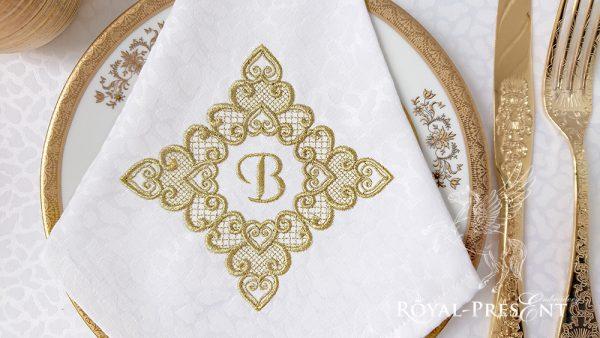 Дизайн машинной вышивки бесплатно Кружевной орнамент из сердечек