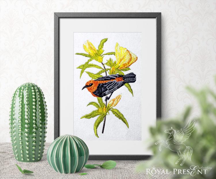 Дизайн машинной вышивки Красивая австралийская птичка