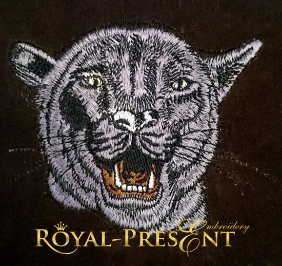 Дизайн машинной вышивки Голова черной пантеры