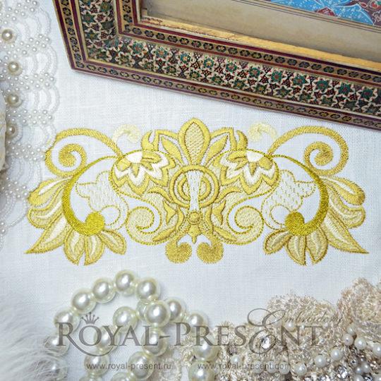 Дизайн машинной вышивки Роскошный золотой