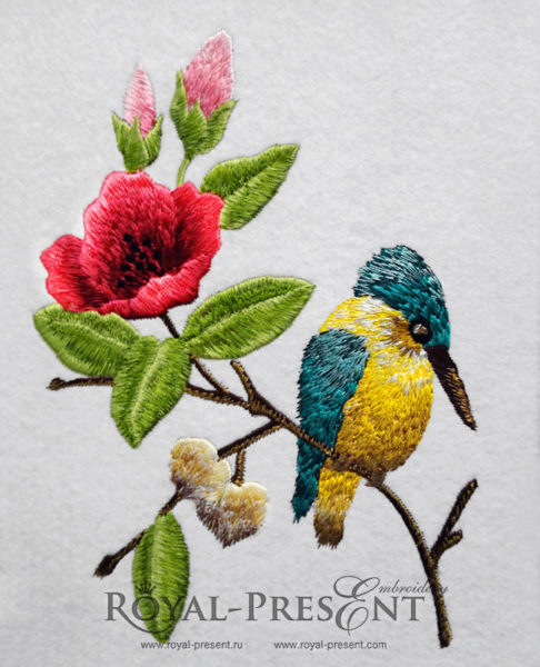 Дизайн машинной вышивки теневой гладью Зимородок на цветущей ветке