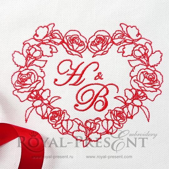 Дизайн для машинной вышивки Сердце из роз и орхидей