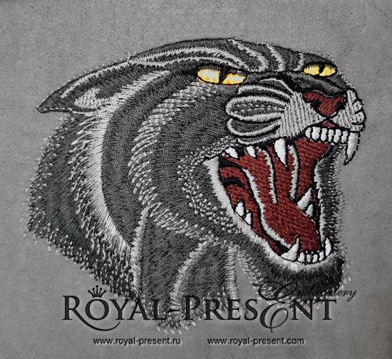 Дизайн машинной вышивки Рычащая Черная пантера