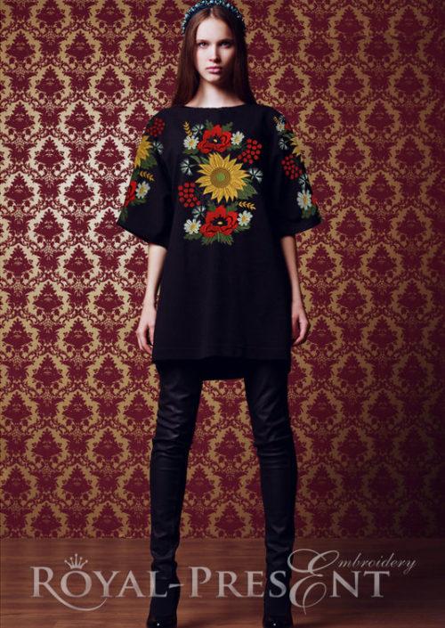 Дизайн машинной вышивки Узор с маками