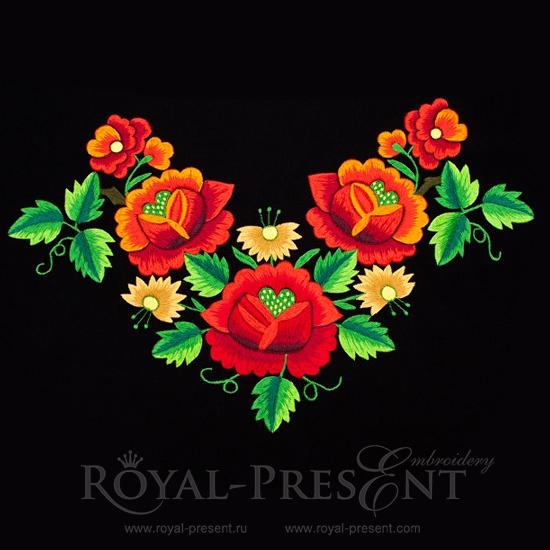 Набор из 3 дизайнов машинной вышивки Розы в саду