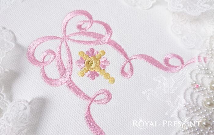 Дизайн для машинной вышивки Цветочный крест с бантом