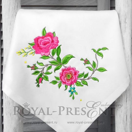 Дизайн машинной вышивки Розы садовые угол