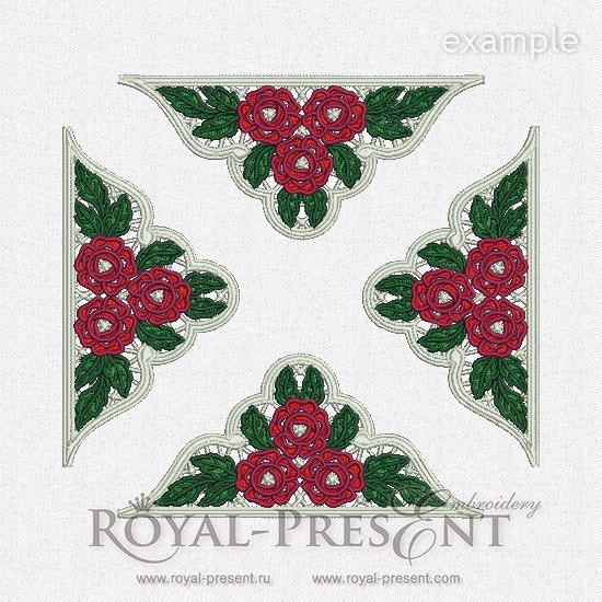 Дизайн для машинной вышивки Красные розы ришелье