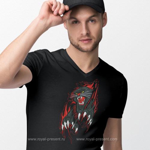 Дизайн машинной вышивки Черная пантера