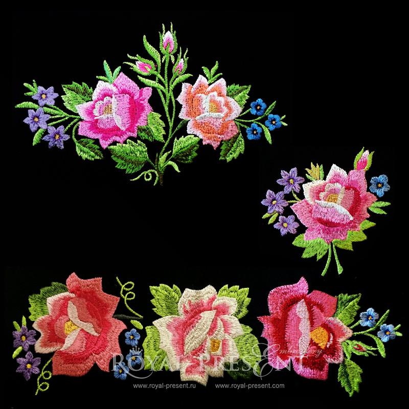 машинной вышивки - Розы в