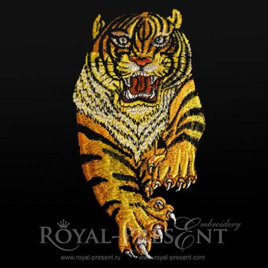 Дизайн машинной вышивки Бегущий Тигр