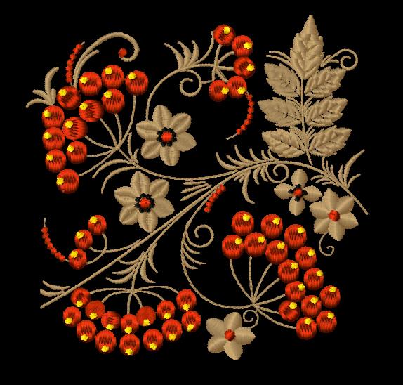 Дизайн машинной вышивки Орнамент хохлома Рябина
