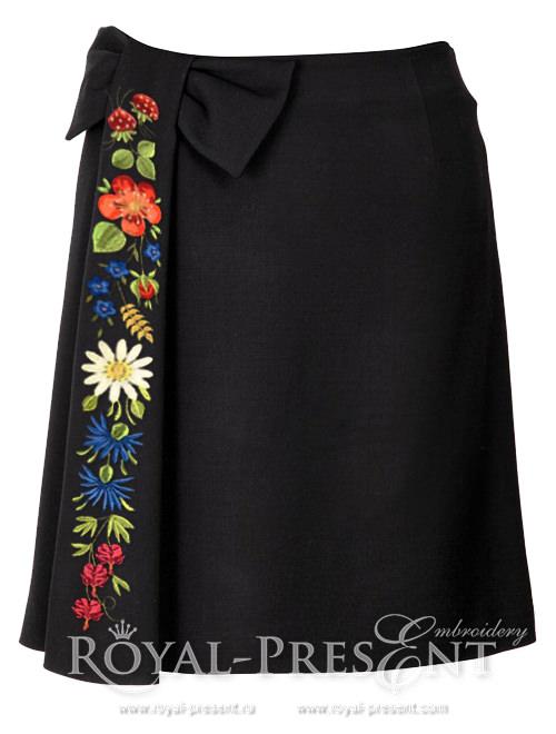Набор из 4 дизайнов машинной вышивки Ягодки цветочки