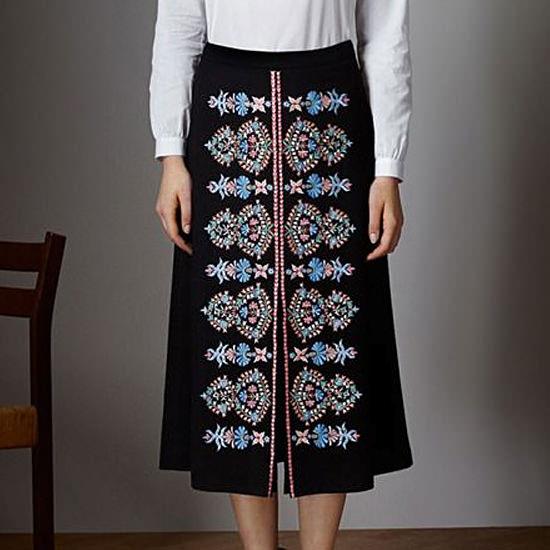 Дизайн машинной вышивки Голубой фольклорный орнамент