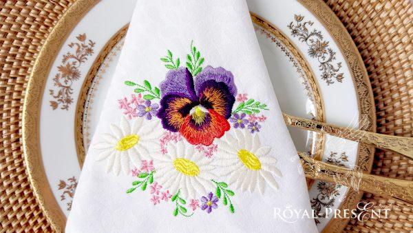Дизайн машинной вышивки Анютины глазки и Ромашки