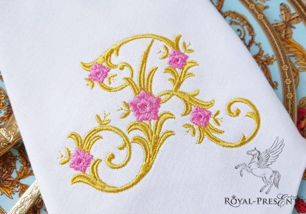 Дизайн машинной вышивки Монограмма винтажная буква R