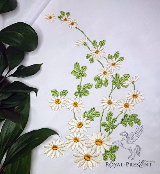 Дизайн для машинной вышивки Ромашки полевые