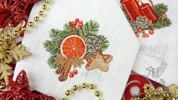 Дизайн машинной вышивки Винтажная новогодняя композиция с апельсином