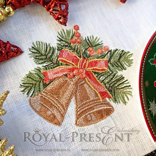 Дизайн машинной вышивки Новогодние колокольчики