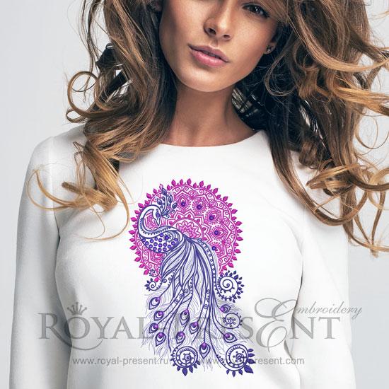 Дизайн машинной вышивки Павлин и Мандала с кристаллами