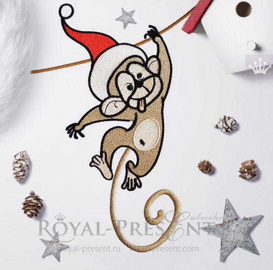 Дизайн машинной вышивки Новогодняя обезьянка