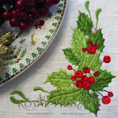 Дизайн машинной вышивки Новогодний букет с ягодами