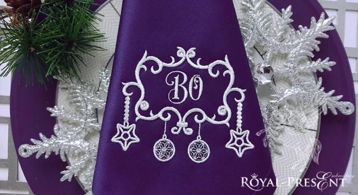 Дизайн машинной вышивки бесплатно Новогоднее обрамление для монограммы